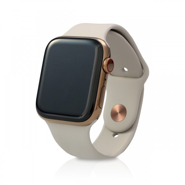 Apple - Apple Watch Series 4 44mm (GPS+Cellular) Gold Edelstahl Graues Armband