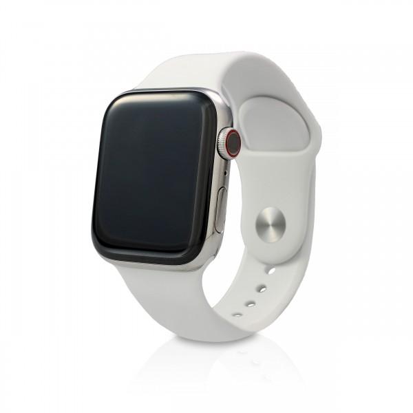 Apple - Apple Watch Series 5 44mm (GPS+Cellular) Silber Edelstahl Weißes Armband
